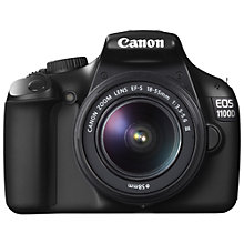 "Buy Canon EOS 1100D Digital SLR Camera with 18-55mm Lens, HD 720p, 12.2 MP, 2.7"" LCD Screen, Black with 16GB + 8GB Memory Card Online at johnlewis.com"