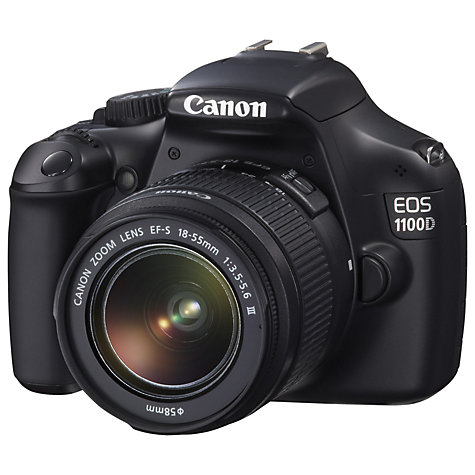 "Buy Canon EOS 1100D Digital SLR Camera with 18-55mm Lens, HD 720p, 12.2 MP, 2.7"" LCD Screen, Black Online at johnlewis.com"