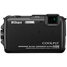 "Buy Nikon Coolpix AW110 Waterproof Camera, HD 1080p, 16MP, 5x Optical Zoom, GPS, 3"" Screen with 16GB + 8GB Memory Card Online at johnlewis.com"