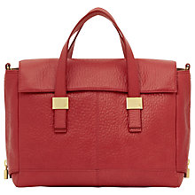 Buy Reiss Cube Zip Detail Shoulder Handbag, Red Online at johnlewis.com