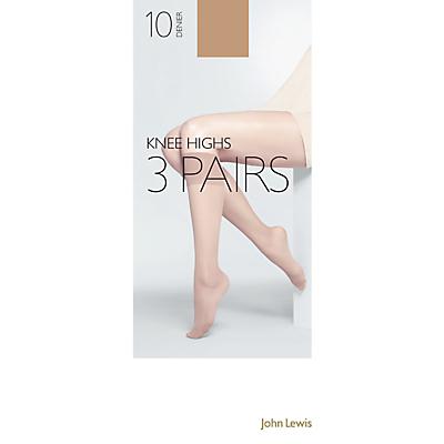 John Lewis 10 Denier Knee Highs, Pack of 3