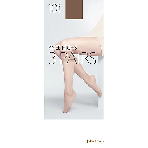 Buy John Lewis 10 Denier Knee High Tights,  Pack of 3 Online at johnlewis.com
