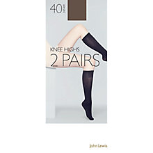 Buy John Lewis 40 Denier Knee High Tights, Pack of 2 Online at johnlewis.com