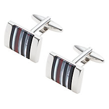 Buy John Lewis Stripe Onyx Hematite Mother of Pearl Cufflinks, Red/Multi Online at johnlewis.com