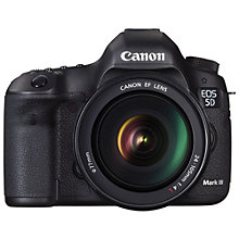 "Buy Canon EOS 5D MK III Digital SLR Camera with 24 - 105mm Lens, HD 1080p, 22.3MP, 3.2"" LCD Screen with FREE Battery Grip Online at johnlewis.com"