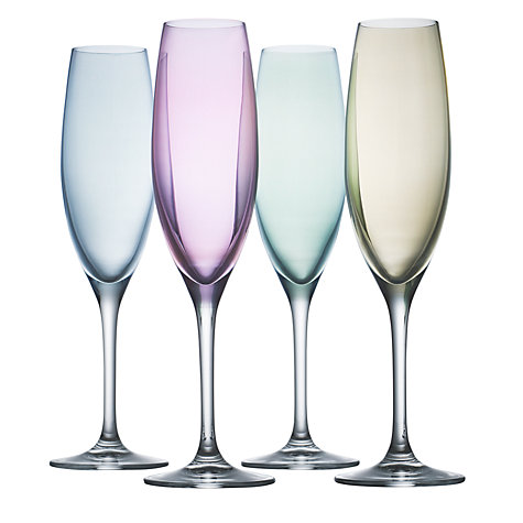 Buy LSA Polka Pastel Flutes, 0.23L, Set of 4 Online at johnlewis.com