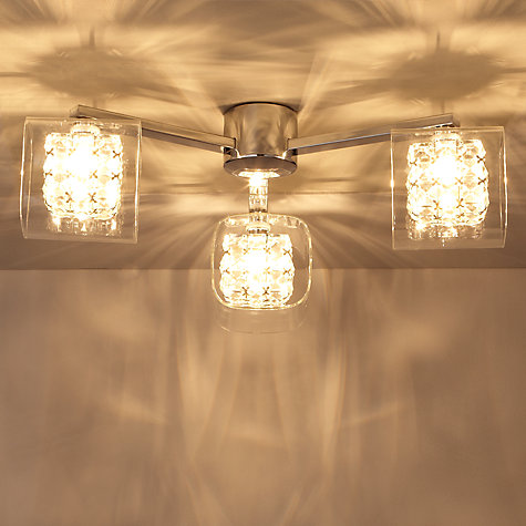 Buy John Lewis Vincenzo Square Crystal Cube Semi-Flush Ceiling Light, 3 Arm Online at johnlewis.com