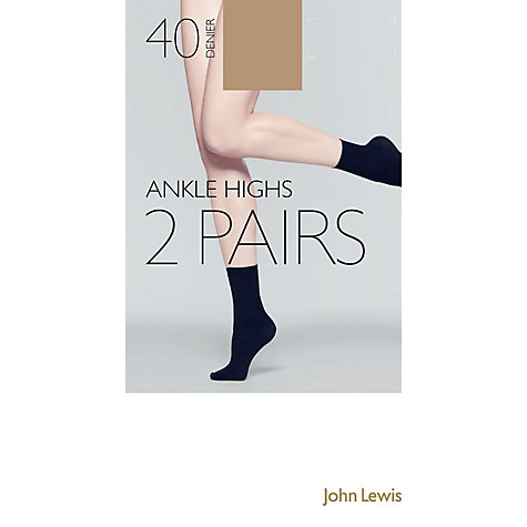 Buy John Lewis 40 Denier Ankle High Socks, Pack of 2 Online at johnlewis.com
