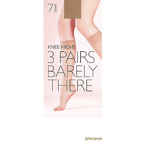 Buy John Lewis 7 Denier Barely There Knee Highs, Pack of 3 Online at johnlewis.com