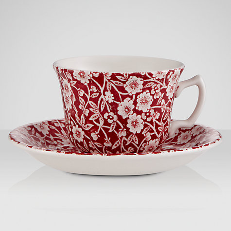 Buy Burleigh Calico Tea Cup & Saucer, 0.19L, Red Online at johnlewis.com