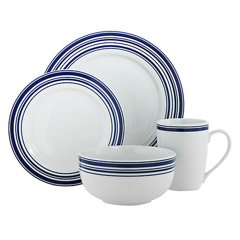Buy John Lewis Blue Stripe Tableware Set, 16 piece Online at johnlewis.com