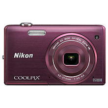 "Buy Nikon Coolpix S5200 Digital Camera, HD 1080p, 16MP, 6x Optical Zoom, Wi-Fi, 3"" LCD Screen with 16GB + 8GB Memory Card Online at johnlewis.com"