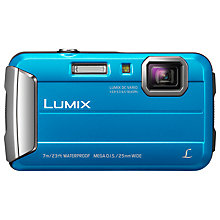 "Buy Panasonic Lumix DMC-FT25EB-K Waterproof Camera, HD 720p, 16.1MP, 4x Optical Zoom, 2.7"" Screen, Blue with Memory Card Online at johnlewis.com"