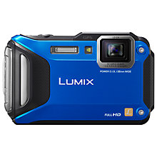 "Buy Panasonic Lumix DMC-FT5EB Waterproof Camera, HD 1080p, 16.1MP, 4.6x Optical Zoom, Wi-Fi, NFC, GPS, 3"" Screen, Blue with Memory Card Online at johnlewis.com"