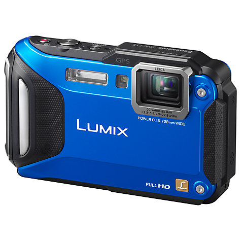 "Buy Panasonic Lumix DMC-FT5EB Waterproof Camera, HD 1080p, 16.1MP, 4.6x Optical Zoom, Wi-Fi, NFC, GPS, 3"" Screen, Blue Online at johnlewis.com"