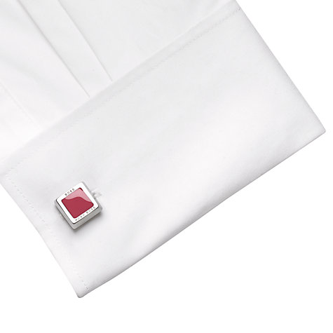 Buy Hugo Boss Franzisko Enamel Square Cufflinks, Red Online at johnlewis.com