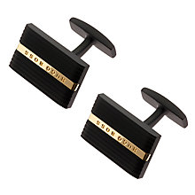 Buy Hugo Boss Hobee Groove Brass Cufflinks, Black Online at johnlewis.com
