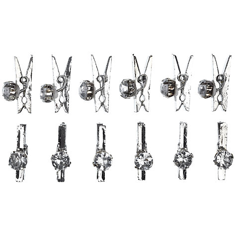Buy John Lewis Diamante Mini Pegs, Pack of 12, Silver Online at johnlewis.com