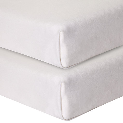 Buy John Lewis Baby's Organic Cotton Flannelette Cot/Cotbed Sheets, 160 x 120cm, Pack of 2, White Online at johnlewis.com