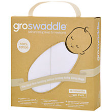 Buy Groswaddle Swaddle Blankets, Pack of 2, White Online at johnlewis.com
