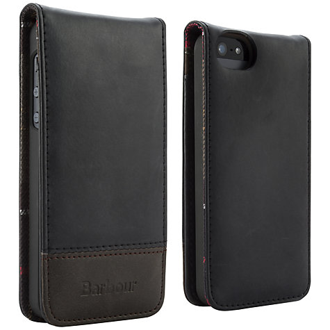 Buy Barbour Leather Flip Case for iPhone 5 & 5s, Black Online at johnlewis.com