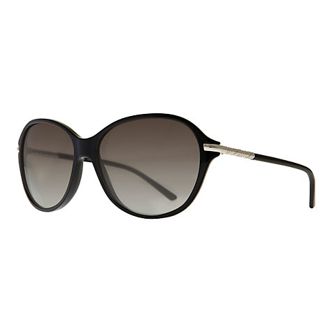 Buy Burberry BE4124 Round Slim Arm Sunglasses, Black Online at johnlewis.com