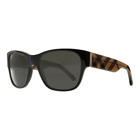 Buy Burberry BE4104M Checked Arm Square Sunglasses, Black Online at johnlewis.com