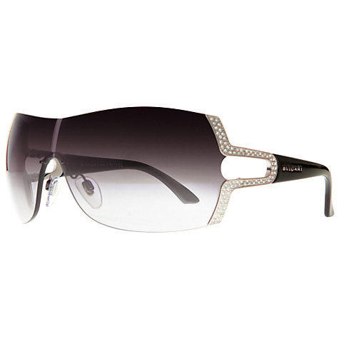 Buy Bvlgari Ladies BV6038B Frameless Wraparound Jewelled Hinge Sunglasses, Black/Grey Online at johnlewis.com