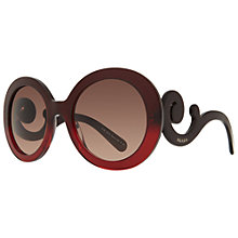 Buy Prada PR27NS MA0A5 Round Framed Ornate Arm Sunglasses, Red Online at johnlewis.com