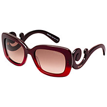 Buy Prada PR27OS Rectangular Sunglasses, Red Gradient Online at johnlewis.com