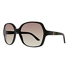 Buy Gucci GG3536/S Oversized Acetate Sunglasses, Black Online at johnlewis.com