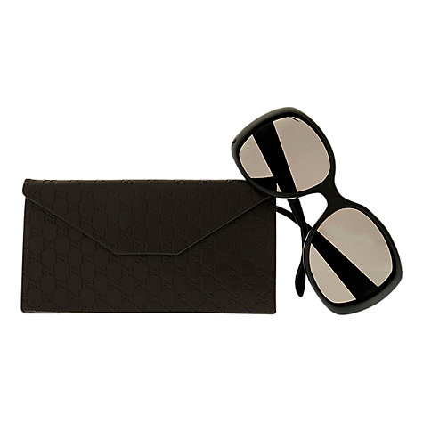 Buy Gucci GG3576/S WF6 E5 Cat's Eye Logo Print Sunglasses, Black Online at johnlewis.com