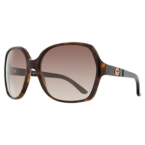 Buy Gucci 3538/S Rectangular Sunglasses, Black/Brown Online at johnlewis.com