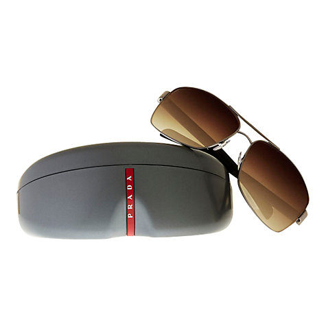 Buy Prada Linea Rossa PS541S Rectangular Aviator Sunglasses, Brown Online at johnlewis.com