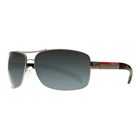 Buy Prada Linea Rossa PS541S Rectangular Aviator Polarised Sunglasses, Grey Online at johnlewis.com