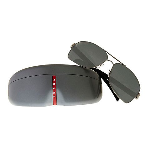 Buy Prada Linea Rossa PS541S Aviator Polarised Sunglasses, Grey Online at johnlewis.com