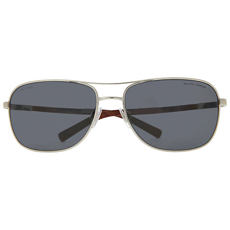 Buy Ralph Lauren PH3076 921981 Polarised Rectangular Aviator Sunglasses, Silver Online at johnlewis.com