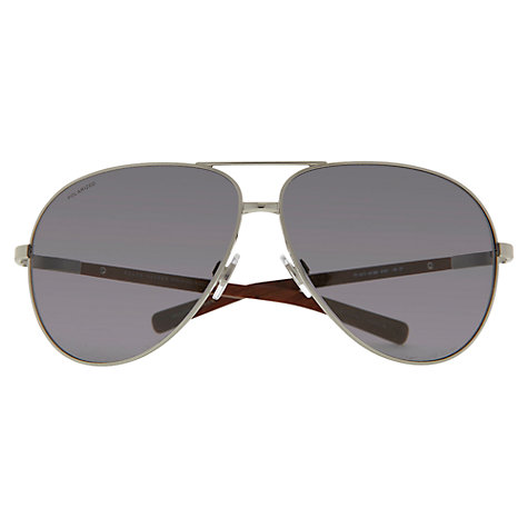 Buy Polo Ralph Lauren Polarised Aviator Style Sunglasses, Silver Online at johnlewis.com
