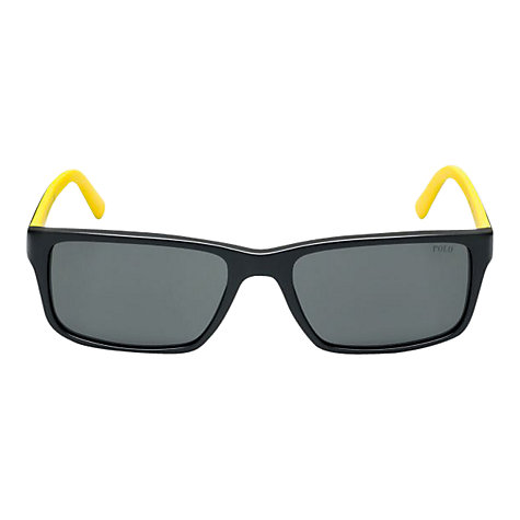 Buy Polo Ralph Lauren PH4076 Rectangular Sunglasses, Matte Black/Yellow Online at johnlewis.com