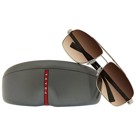 Buy Prada Linea Rossa PS55NS Oval Sunglasses, Silver Online at johnlewis.com