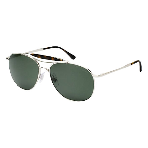 Buy Polo Ralph Lauren PH3078 Elliot Aviator Sunglasses, Shiny Silver Online at johnlewis.com