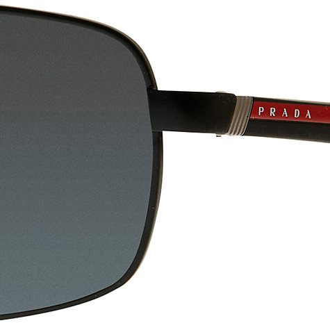Buy Prada PS55NS Lifestyle Rectangular Polarised Sunglasses, Black Online at johnlewis.com