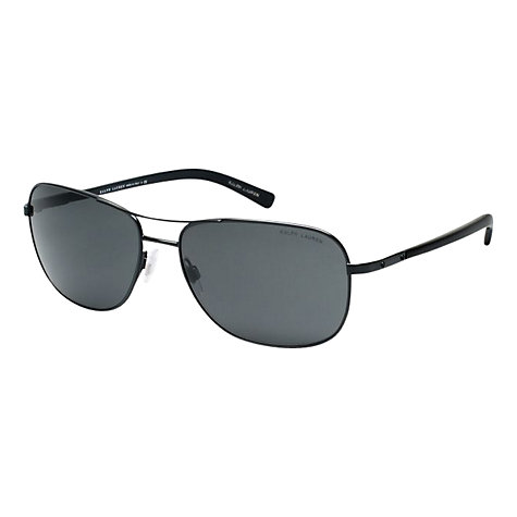 Buy Polo Ralph Lauren PH3076 Round Aviator Style Sunglasses, Matte Black Online at johnlewis.com