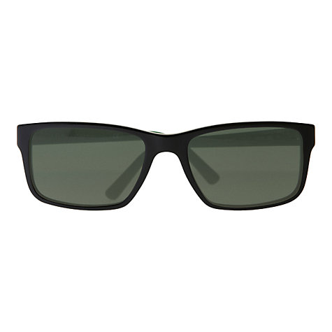 Buy Polo Ralph Lauren PH4076 Polo Player Rectangular Sunglasses, Shiny Black Online at johnlewis.com