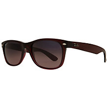Buy Ray-Ban RB2132 New Wayfarer® Polarised Sunglasses, Brown/Pink Online at johnlewis.com
