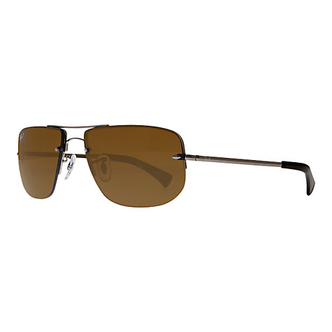 Buy Ray-Ban RB3497 Polarised Square Sunglasses, Gunmetal Online at johnlewis.com