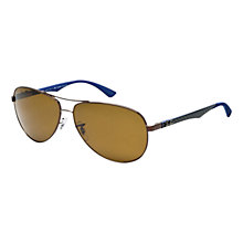 Buy Ray-Ban RB8313 Aviator Style Sunglasses, Brown/Blue Online at johnlewis.com