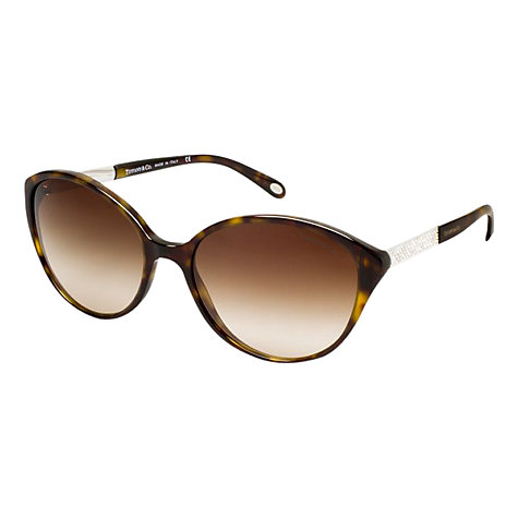 Buy Tiffany & Co TF4073B Cat's Eye Jewelled Temple Sunglasses, Dark Havana Online at johnlewis.com