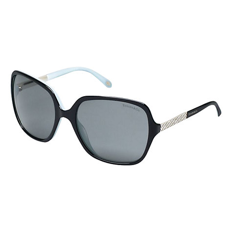 Buy Tiffany & Co TF4072B Oversized Square Jewelled Temple Sunglasses, Black Blue Online at johnlewis.com
