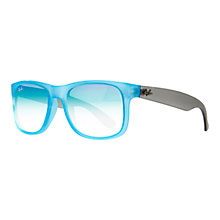 Buy Ray-Ban RB4165 Justin Rectangular Gradient Sunglasses, Azure Online at johnlewis.com